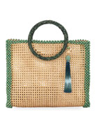 Rosantica Elle XL Beaded Straw Tote Bag