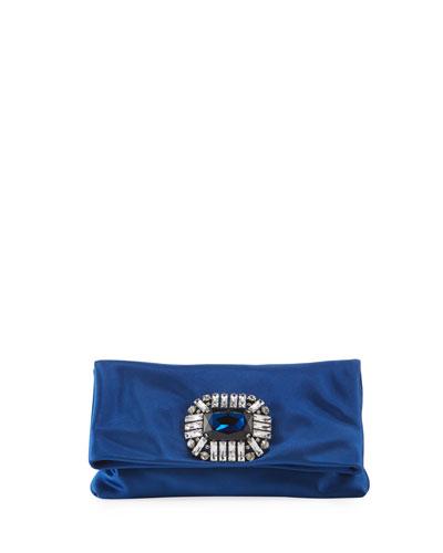 Titania Jeweled Satin Clutch Bag, Blue