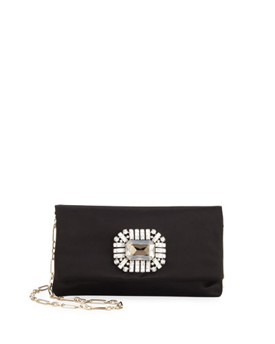 Titania Jeweled Satin Clutch Bag, Black