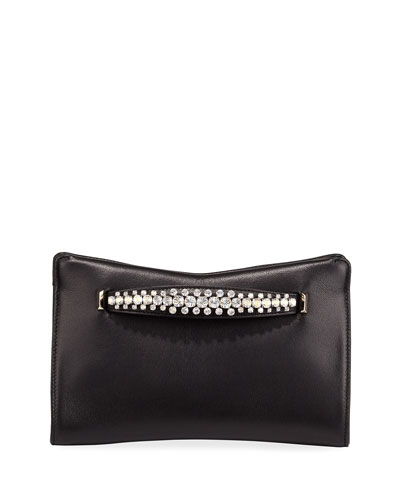 Venus Crystal-Handle Leather Clutch Bag
