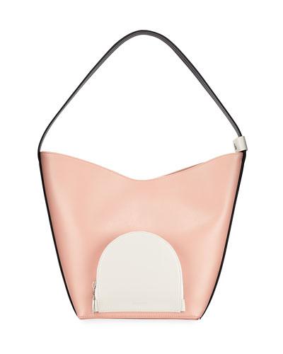 Eva Colorblock Leather Bucket Bag, Blush