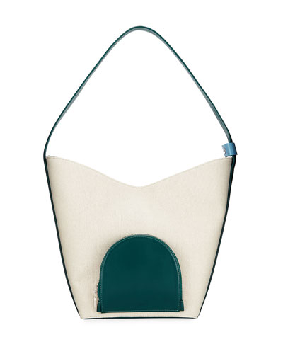 Eva Colorblock Canvas & Leather Bucket Bag, White/Green