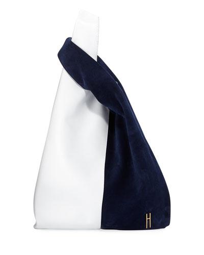 Shopper Two-Tone Leather Tote Bag