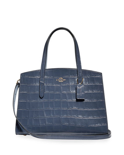Charlie Croc-Embossed Leather Carryall Tote Bag