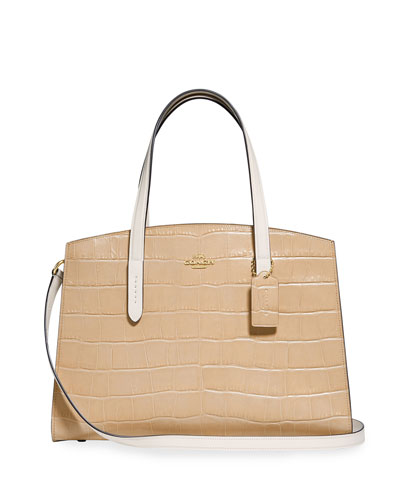Charlie Colorblock Croc-Embossed Leather Carryall Tote Bag
