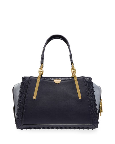 Dreamer Whipstitched Colorblock Leather & Suede Satchel Bag