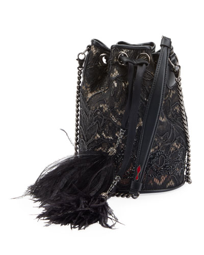 Marie Jane Dentelle Lace Bucket Bag with Feathers
