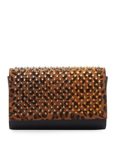 Paloma Spike Leopard Clutch Bag