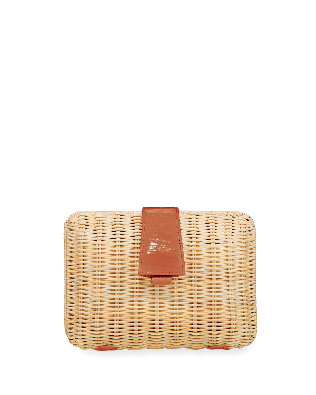 Nancy Gonzalez Clutch WICKER & CROCODILE SMALL CLUTCH BAG