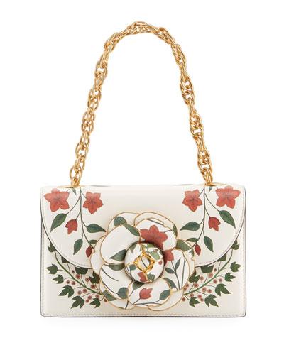 Tro Flower-Print Leather Shoulder Bag