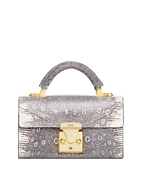 STALVEY Glossy Lizard Mini Top Handle Bag