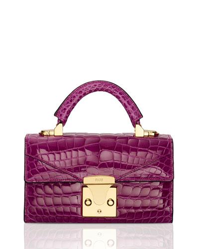 Glossy Crocodile Mini Top-Handle Bag, Pink