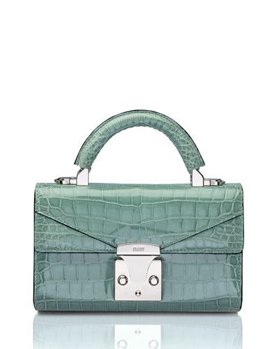 Glossy Crocodile Mini Top-Handle Bag, Green