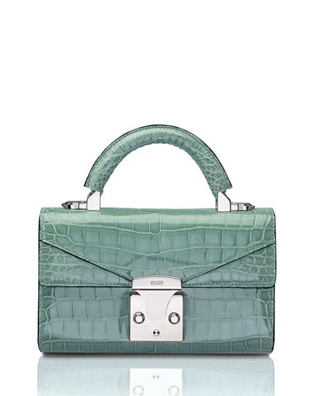 STALVEY Glossy Crocodile Mini Top-Handle Bag, Green