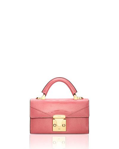 Lizard Mini Top Handle Bag, Pink