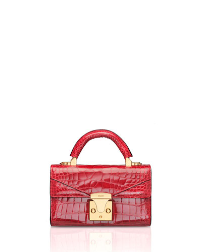 Mini Crocodile Top Handle Bag, Red
