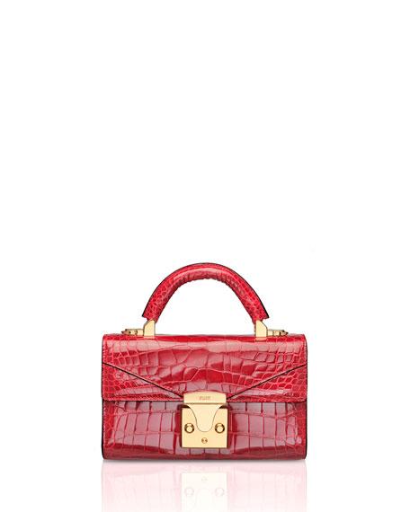 STALVEY Mini Crocodile Top-Handle Bag, Red