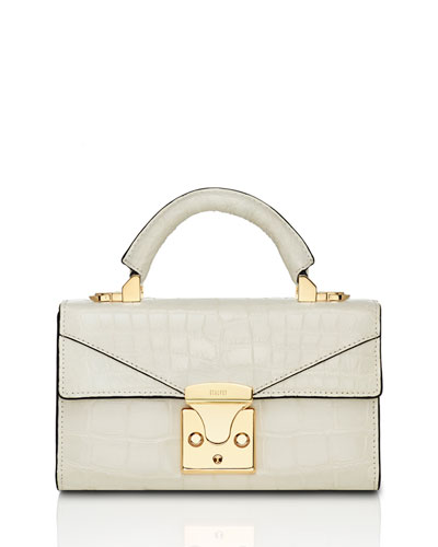 Mini Crocodile Top Handle Bag, Off White