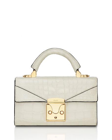STALVEY Mini Crocodile Top-Handle Bag, Off White