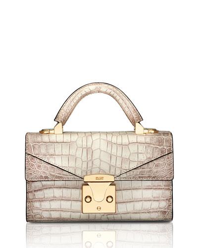 Mini Crocodile Top-Handle Bag, Neutral