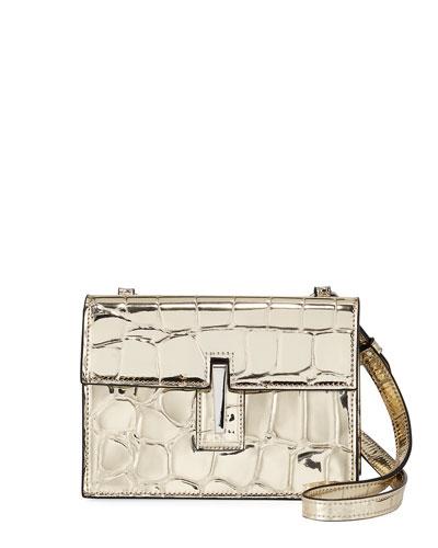 Mini Soft Metallic Crossbody Clutch Bag