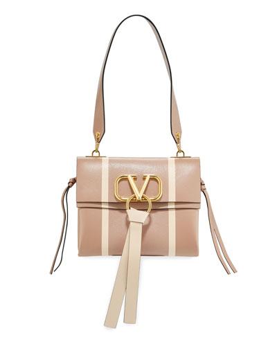 V Ring Small Leather & Karung Shoulder Bag