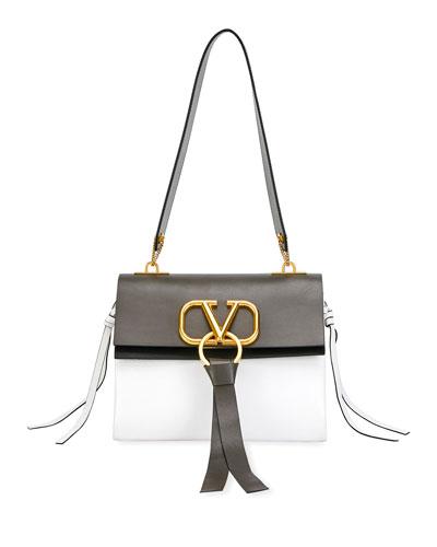 V Ring Small Bicolor Leather Shoulder Bag