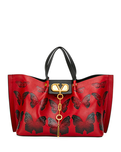 VLOGO Escape Medium Leather Shoulder Bag w/ Embossed Butterflies