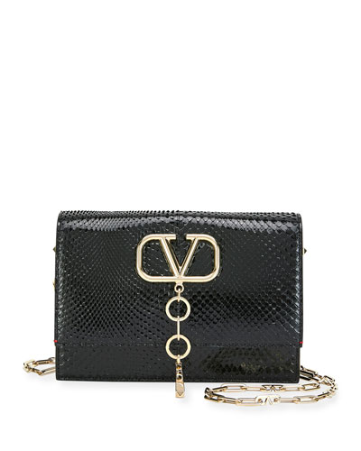 V Case Small Python Shoulder Bag