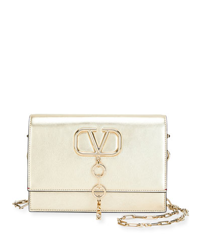 V Case Small Metallic Leather Shoulder Bag