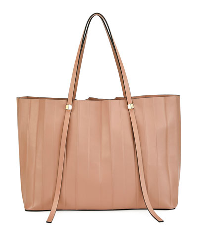 Small Pleated Leather Tote Bag
