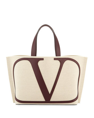 Vlogo Large Canvas/Leather Tote Bag