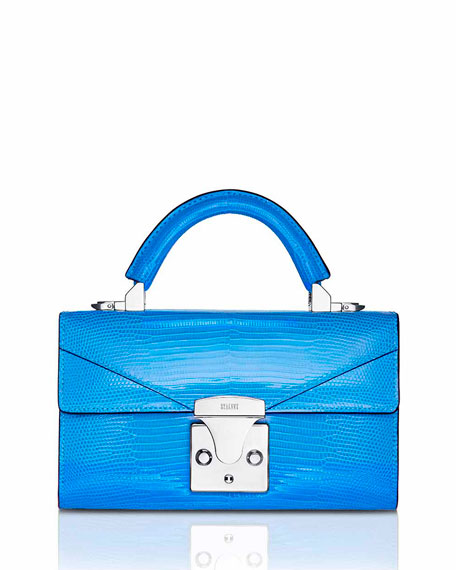 STALVEY Mini Lizard Top Handle Bag, Bright Blue