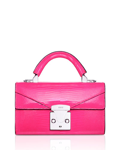 Mini Lizard Top Handle Bag, Bright Pink