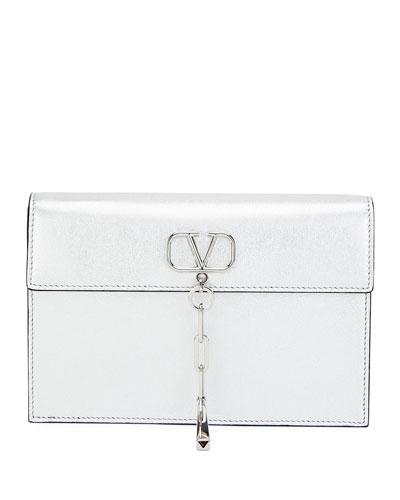 V Chain Small Metallic Clutch Bag