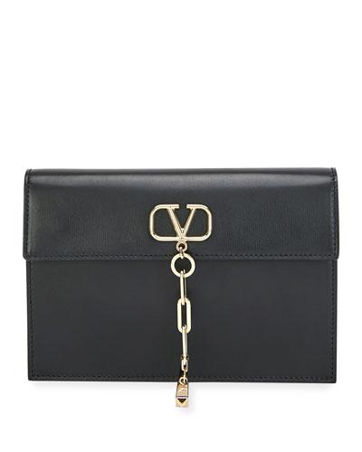 V Chain Small Calf Clutch Bag