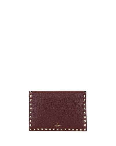 Rockstud Medium Flat Folded Leather Clutch Bag