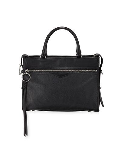 Bedford Zip Leather Satchel Bag, Black