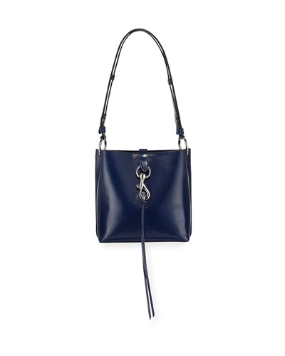 Megan Small Leather Feed Bag, Blue