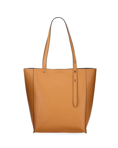 Stella Large Leather Tote Bag, Beige