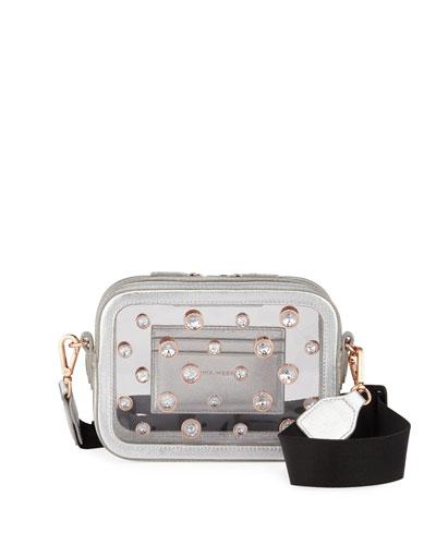 Dina Studded Metallic Camera Bag, Silver