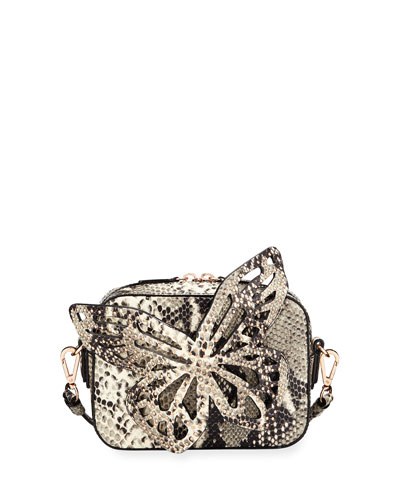 Flossy Butterfly Snake-Embossed Shoulder Bag