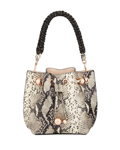 Romy Mini Snake-Embossed Bucket Bag