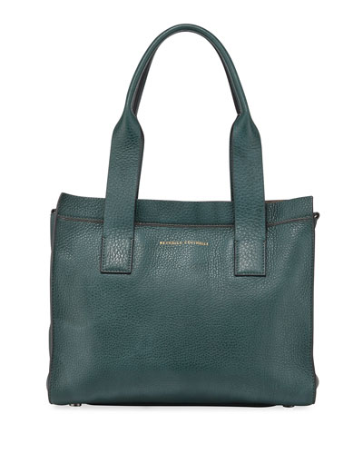 Small Leather Top-Handle Tote Bag