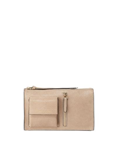 Buffed Leather Belt Bag with Aviator Pockets
