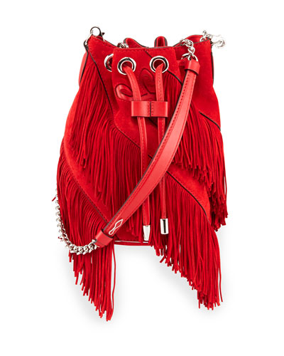 Mary Jane Suede Fringe Bucket Bag