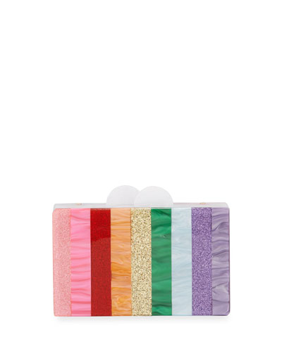 Girls' Rainbow Stripe Box Clutch Bag