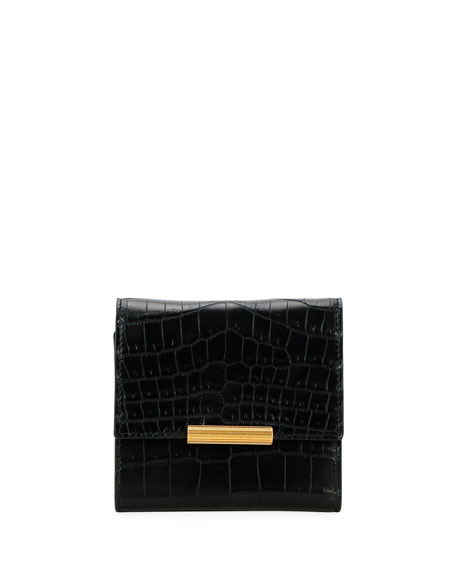 Bottega Veneta Mini Soft Alligator Flap Wallet