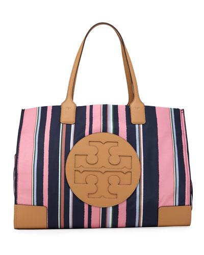 Ella Striped Nylon Tote Bag