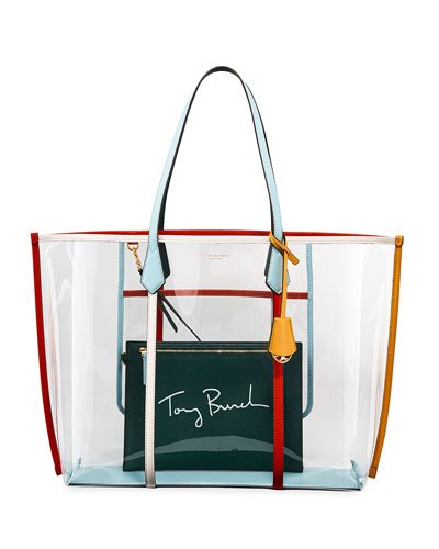 Perry Oversized Colorblock See-Through Tote Bag